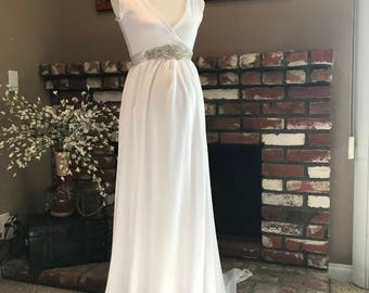 Levina a-line chiffon maternity wedding gown with wrapped top, wedding dress, bridesmaids dress, party dress,bridal dress
