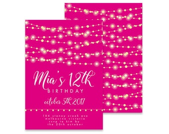 Printable 12th Birthday Invitation | Garland Pretty Lights | Printable DIY Invite, Affordable Invitation, Digital Invite, Girl's Invite 12th