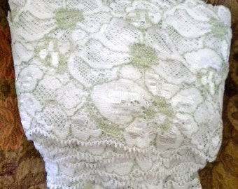 Soft White and Mint Green Floral Trim