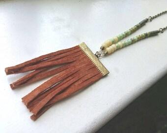 Leather Fringe Necklace Boho Chic Southwestern Nomad Beaded Czech Glass  - Corrales
