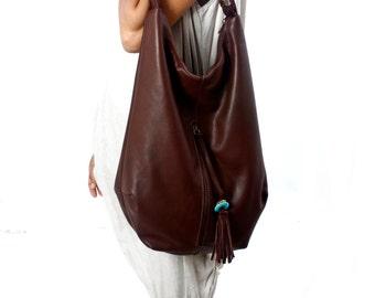 Bohemian Leather Bag, Dark Brown Leather Tote Bag, Hobo Tote Bag, Boho Bags, Brown Purse, Leather Purse, Bohemian Handbag, Stylish Bags