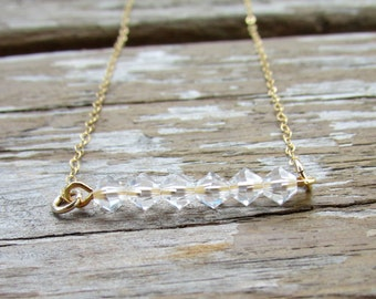 Crystal Bar Necklace, Layered Bar Necklace, Crystal Necklace, Beaded Bar Necklace, Crystal Jewelry, Gold Necklace, Dainty Necklace