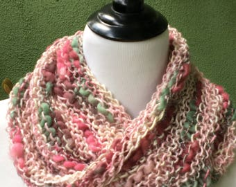 Soft, Multi-Textured Pink and Green Infinity Scarf