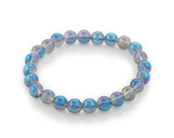 beaded stretch bracelet blue purple aura quartz 8mm - gifts for her - aura quartz bracelet - healing energy bracelet - women's gift braclet