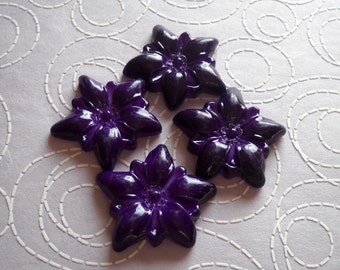 2 Vintage Lucite Large Purple Flower Cabochon Bead
