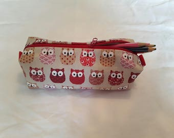 Pencil case patterns owls red orange