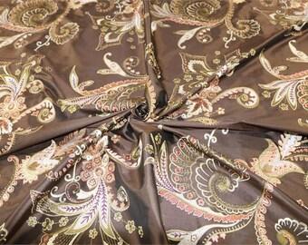 Arboretum Collection - 100% Pure Silk Dupioni Embroidered Fabric - Chocolate
