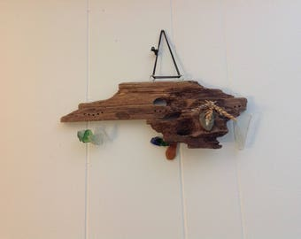Alaskan driftwood, beach glass, stone