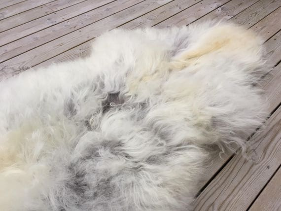 Large and lush sheepskin rug soft, volumous throw sheep skin long haired Norwegian pelt natural golden grey 18051