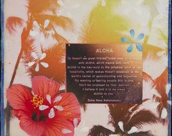 ALOHA, Giclee, 8x8 and Up, Duke's Definition of Aloha, Duke, Waikiki, Oahu, hibiscus, Hawaii, Rainbow, Palm Trees