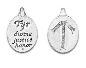 set of two Rune Pendant,Tyr Rune Symbol, Norse Symbol, Celtic Symbol, Tyr Rune,Tiwaz Rune, Harmony, Wisdom, Love, Pewter Charms, Made in USA