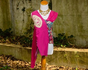 Boho Clothing, Bohemian Altered Couture, Gypsy Sleeveless Top, Upcycled, Artsy, Wearable Art, Mori Girl, Lagenlook, Repurposed, Size Small