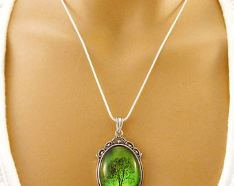 Emerald Bewitched -- Wearable Art Cameo Necklace-gift for her.Christmas gift.Valentine's gift cameo necklace.Mother's Day gift
