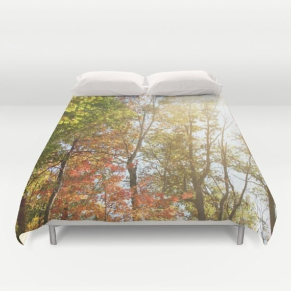 Autumn Art Duvet with Leaves and Light by SylviaCPhotography