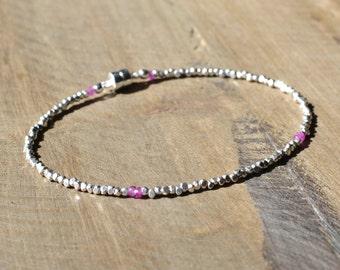 Pink Sapphire Bracelet, Fine Silver Bracelet, Pink Wedding Jewelry, Sterling Silver Bracelet. Ready to ship.