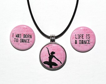 Dance Words - Magnetic Pendant Necklace - with 3 inserts