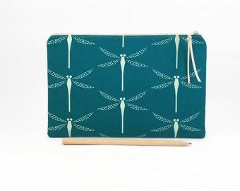 Large pencil case, Clutch zipper purse, Zipper clutch, Teal, Clutch zipper bag, Clutch purse, Dragonflies, Simple clutch purse, Clutch bag