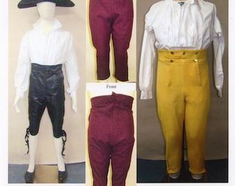 Men's Narrow Fall Breeches circa 1790-1820 Pants / Small Falls sizes 28-56 Laughing Moon Sewing Pattern # 127
