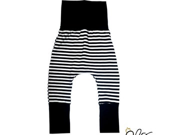 Grow with me harem pants for babies, black and white striped baby pants, pirate costumes, handmade grow with me clothing by MEF Creations