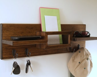Wall Mail Organizer-Key Rack-Coat Rack- Hat Rack- Country-Farmhouse-Double Shelf-Espresso Finish