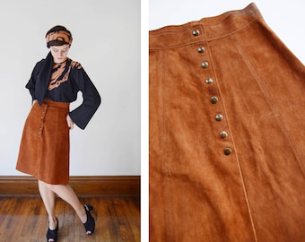 70s Suede Snap Up Skirt - S