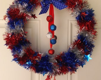Red, White, and Blue Wreath with Built in Bells