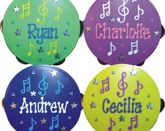 Tambourine SALE Personalized Tambourine / Music themed party / Instrument Favor / Hand Painted Party Favor, Personalized & Gift Wrapped