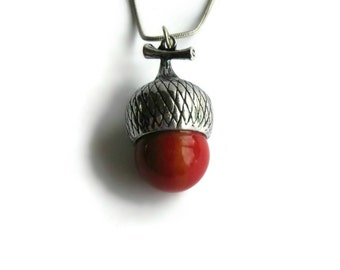 Red Glass Acorn Pendant Necklace - Christmas Women Jewelry, Gifts for Her Under 25, Red Glass Acorn Nut, Fall Necklace, Woodland Necklace