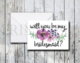 Purple Floral Will You Be My Bridesmaid Card with Handwritten Script Printable