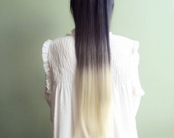 Clip in hair extensions black to blonde, 3/4 full head_like human hair_straight synthetic fiber_7pieces 16 clips_ombre
