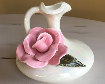 Pitcher Bud Vase with 3 Dimensional Applied Rose