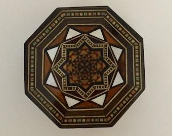 Ring Box, Jewelry box, small jewelry box, wooden jewelry box, Syrian Mosaic, Wood Inlay Art, Syrian Art, Trinket Box, Keepsake box, decor
