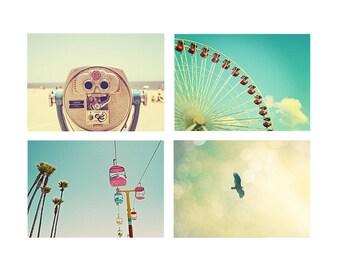Carnival Nursery Art, Summertime Beach Photography, Santa Cruz Beach Boardwalk - Seaside Summertime Fine Art Photo Print Set