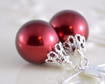 Red Christmas Earrings, Large Glass Pearls, Silver Plated Lever Earwires, Fun Holiday Jewelry