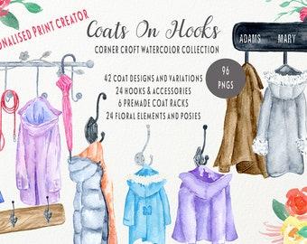Watercolor coats on hooks, personalised print creator, rain coat, winter coat, children coat, hook, coat rack for instant download
