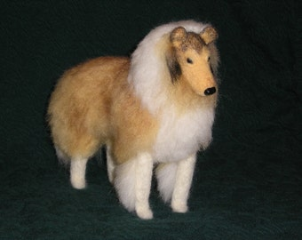 Needle Felted Collie dog example custom made to order