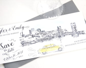 Sacramento Skyline Whimsical Save the Date Cards , Taxi Watercolor, Wedding (set of 25 cards)