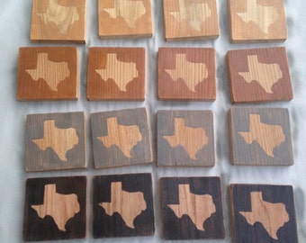 Hard Wood Texas Coasters Set of Four MADE TO ORDER