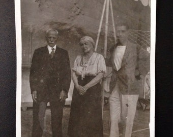 Original Antique Photograph Standing on the Ship Deck
