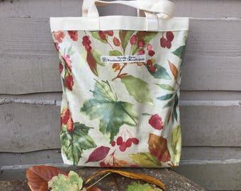 Reuseable shopper, reuseable lunch bag, lunch tote, oilcloth lunch bag, oilcloth lunch tote, autumn leaves, lunch bag, shoe bag, changing ba