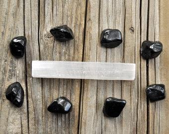 Protection Stones, Selenite Wand, Tumbled Black Tourmaline, Raw Selenite, Meditation Stone Set, Healing Gemstone Set, Tumbled Gemstones
