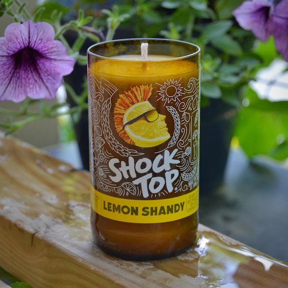 Shock Top Lemon Shandy craft beer bottle candle made with soy wax