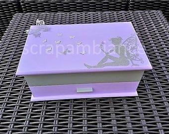 "custom wooden jewelry box, jewelry box, jewelry organizer, purple ""ISIS"" and medium gray fairies and flowers theme"
