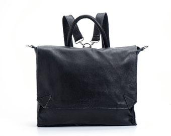 BLACK Leather Backpack, Satchel backpack, School bag, Laptop Backpack, Messenger bag, SALE 10% OFF!