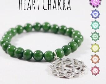 Heart Chakra Green Jade Energy Bracelet