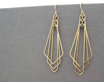 Gold Filled Geometric Earrings - modern statement art deco fan, nickel free minimalist wedding jewelry - Tiered Arrow