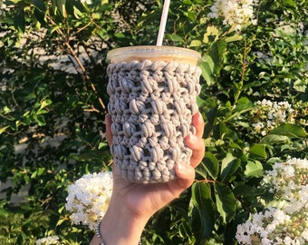 Coffee cozy, reusable cup sleeve, iced cup holder, crochet cup cozy