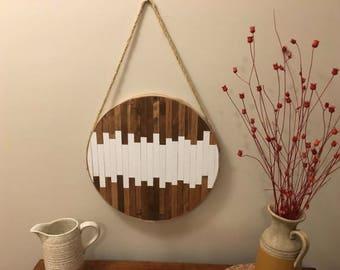 Piano keys wood round wall art