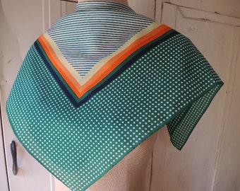 Vintage 1970s polyester scarf diagonal stripes polka dots 25.5 x 25.5 inches