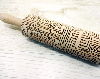 MICROCHIP Embossing Rolling Pin. Laser engraved rolling pin with microchip pattern
